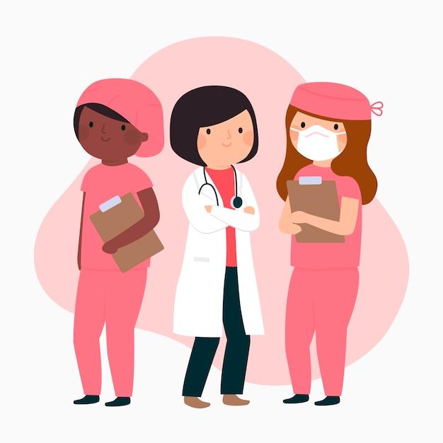 Equipe profissional de saúde Vetor grátis