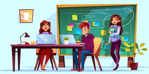 Equipe que trabalha no escritório com ilustração da placa de kanban. colegas de trabalho em mesas de trabalho Vetor grátis