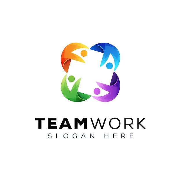 Equipe trabalho pessoas grupo logotipo, modelo de design de logotipo de família de pessoas Vetor Premium