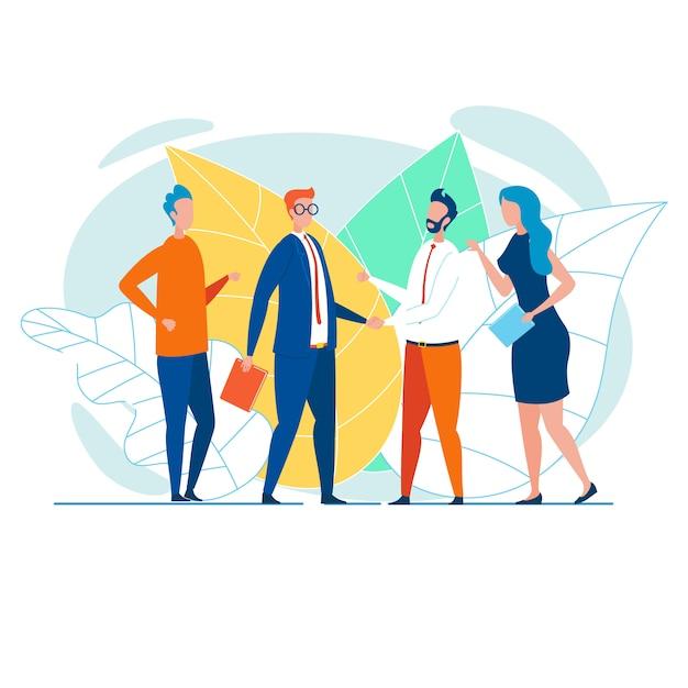 Equipes de negócios, apertando as mãos e parabenizando Vetor Premium