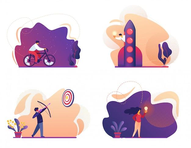 Equitação da bicicleta, tiro do tiro ao arco com curva ao alvo, mosca do homem no foguete, menina com ampola. ilustração Vetor Premium