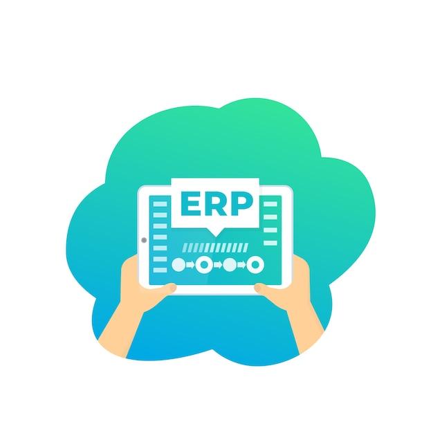 Erp, software de planejamento de recursos empresariais Vetor Premium