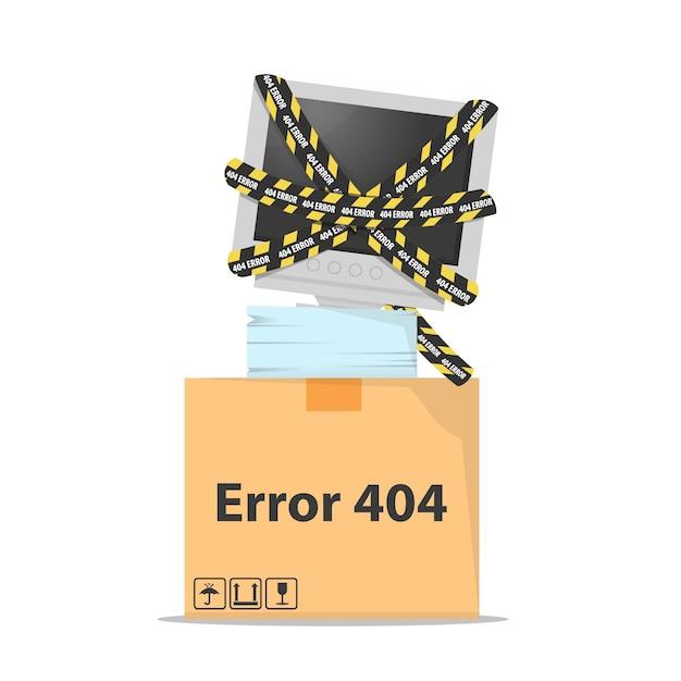 Erro 404 com o monitor do computador quebrado Vetor Premium