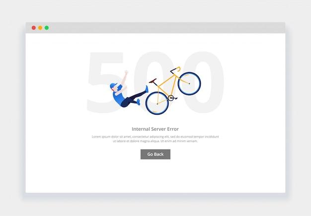Erro 500. conceito de design moderno plana do homem cai da bicicleta para o site. modelo de página de estados vazios Vetor Premium