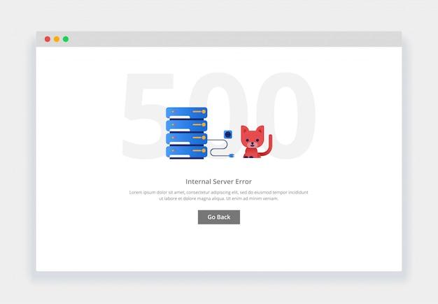 Erro 500. conceito moderno de design plano de gato desconectou o cabo do data center para o site. modelo de página de estados vazios Vetor Premium