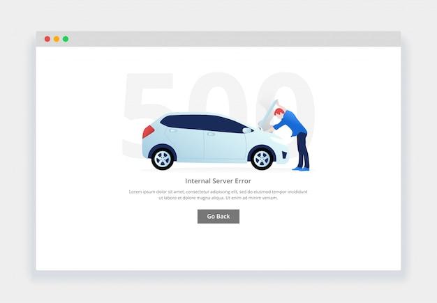 Erro 500. conceito moderno design plano de homem examinando o motor do carro dividido para o site. modelo de página de estados vazios Vetor Premium