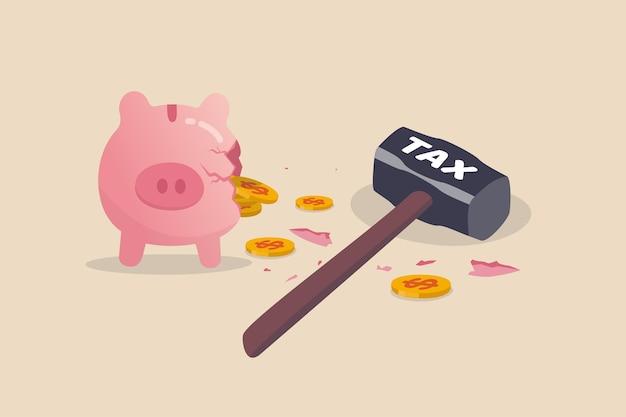 Erro de planejamento tributário, pagar muito dinheiro para imposto de renda causando plano de economia de impacto de perda de dinheiro Vetor Premium