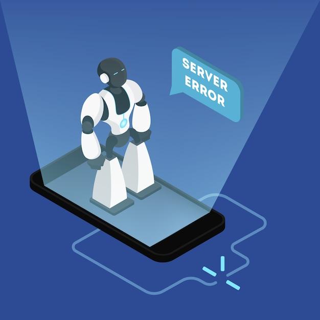 Erro interno do servidor 500. robô quebrado parado no telefone. falha na conexão com a internet. conceito moderno de tecnologia sem fio. ilustração isométrica Vetor Premium