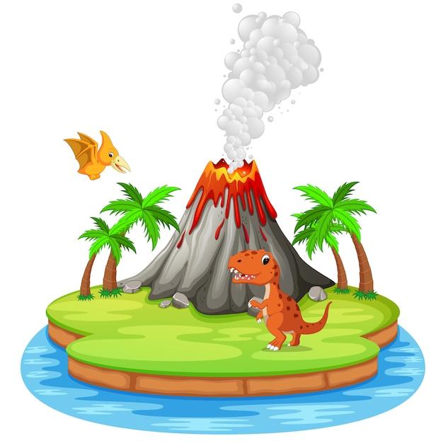 Erupção de dinossauro e vulcão Vetor Premium