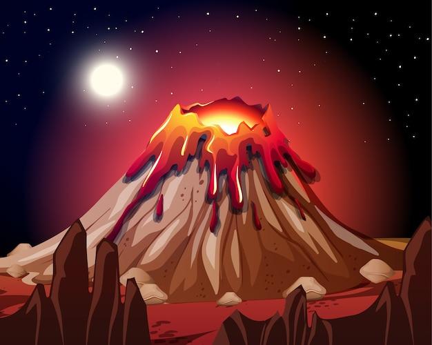 Erupção de vulcão em cena da natureza à noite Vetor grátis