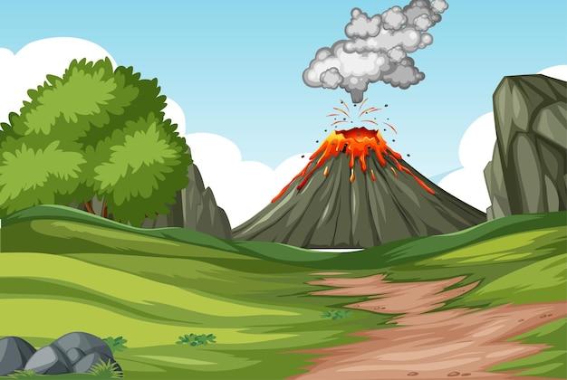 Erupção de vulcão em cena de floresta natural durante o dia Vetor grátis