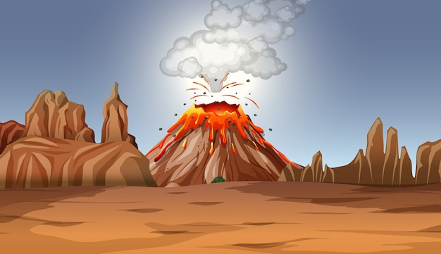 Erupção de vulcão em cena do deserto durante o dia Vetor grátis