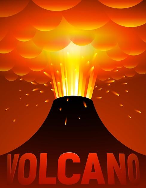 Erupção vulcânica. ilustração dos desenhos animados Vetor Premium
