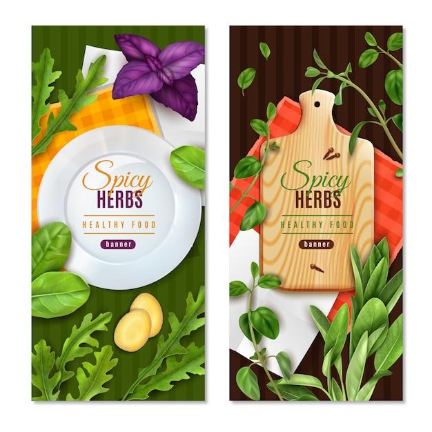 Ervas folhas verdes de salada especiarias 2 banners de comida saudável realista com espinafre tomilho manjericão Vetor grátis