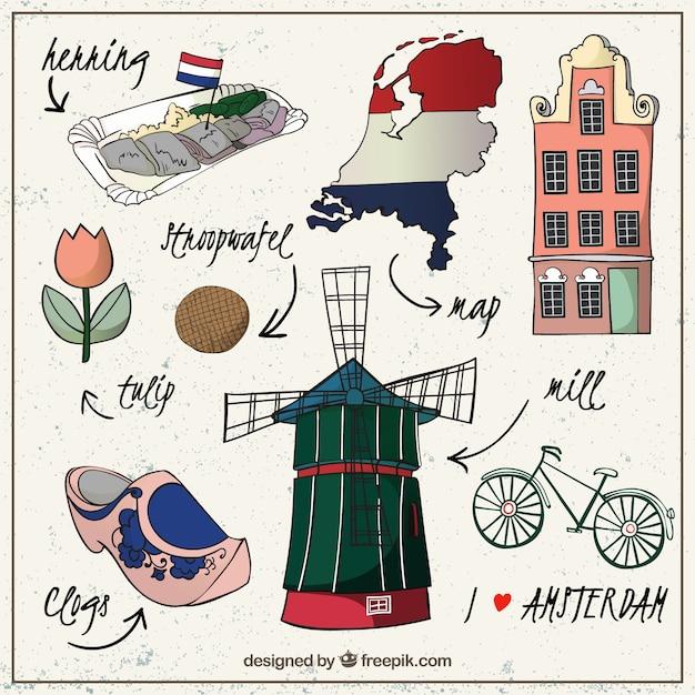 Esboçado elementos da cultura amsterdã Vetor grátis