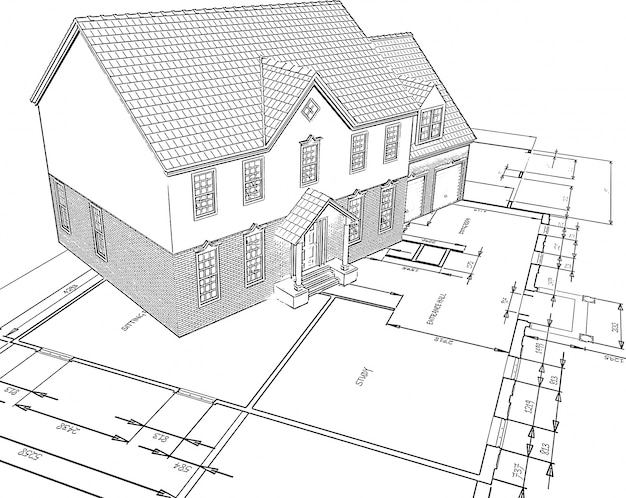 Esboçado, estilo, ilustração, casa, planos Vetor grátis