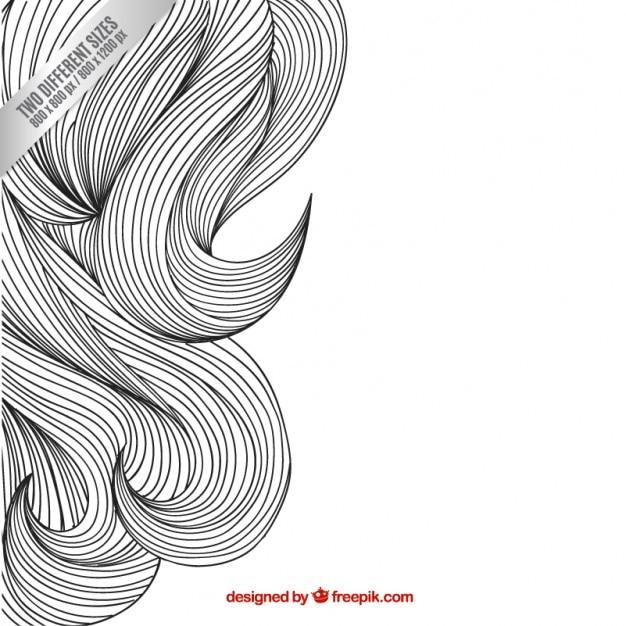 Esboçado fundo cabelo ondulado Vetor grátis