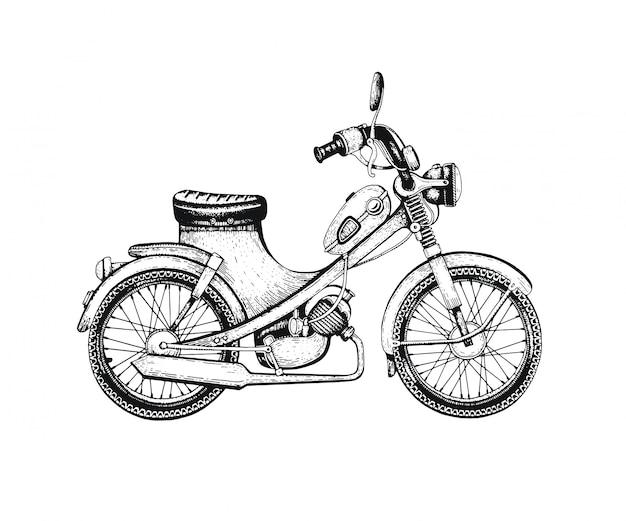 Esboçado scooter vintage. Vetor Premium