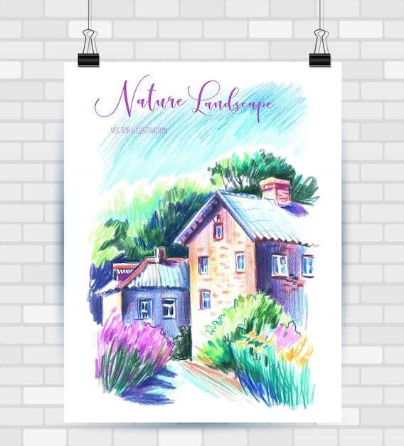 Esboçar a ilustração em formato vetorial. cartaz com bela paisagem. Vetor Premium