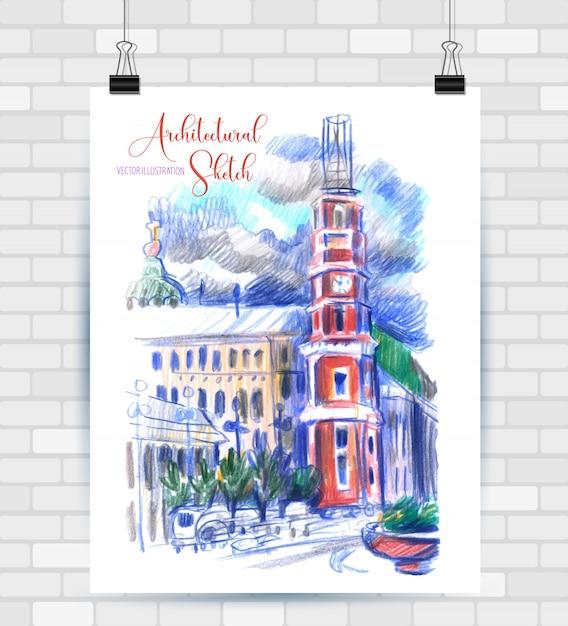 Esboçar a ilustração em formato vetorial. cartaz com belos elementos urbanos. Vetor Premium
