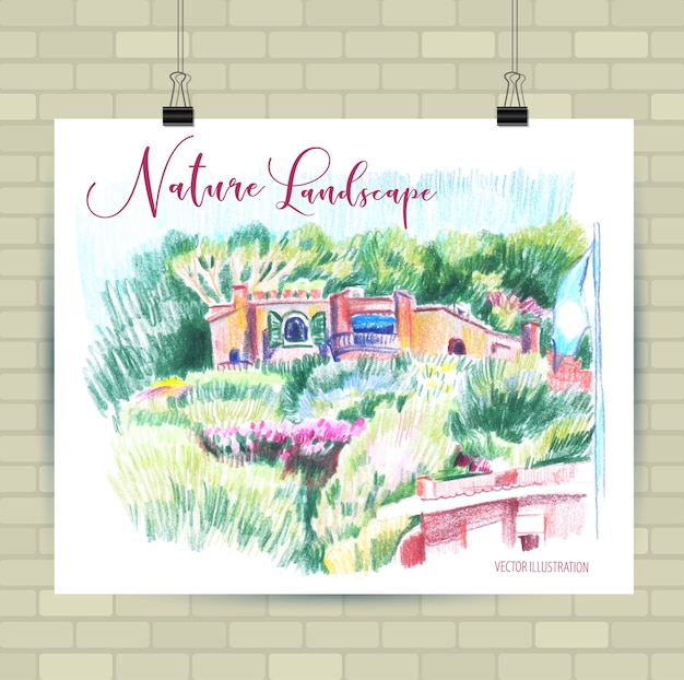 Esboçar a ilustração em formato vetorial. cartaz com lindas flores. Vetor Premium