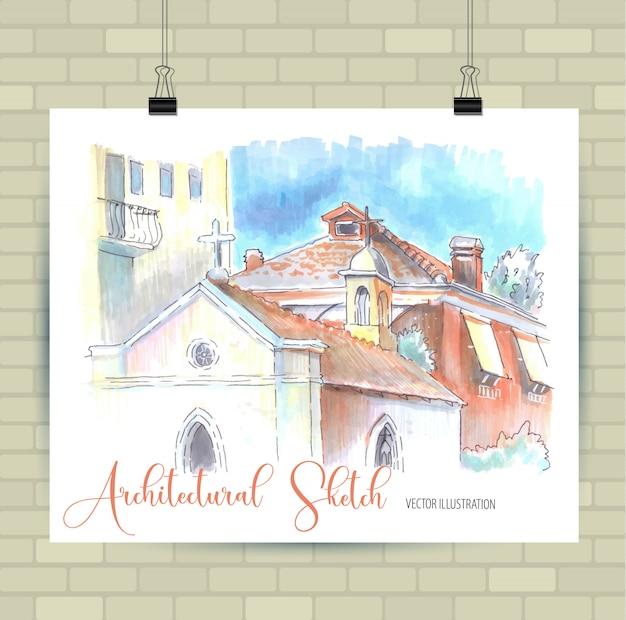 Esboçar a ilustração em vetor. cartaz com belas casas. Vetor Premium