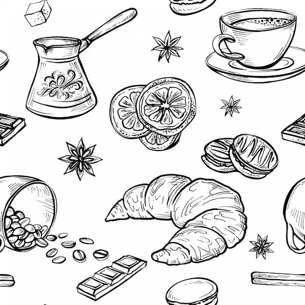 Esboçar doodle padrão sem emenda de desenhos de café, esboços feitos à mão de conjunto de café Vetor Premium