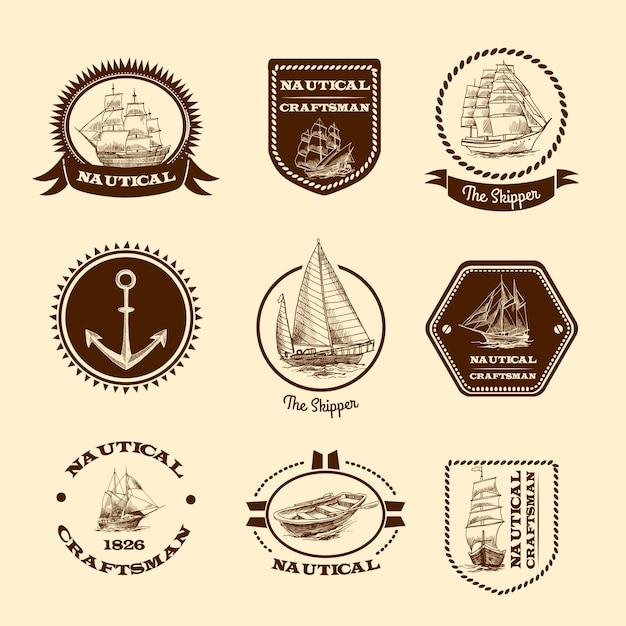 Esboçar emblemas náuticos Vetor grátis