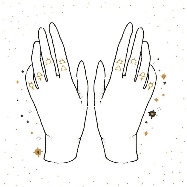 Esboce a ilustração gráfica com símbolos místicos e ocultos. mãos afortunadas. Vetor Premium