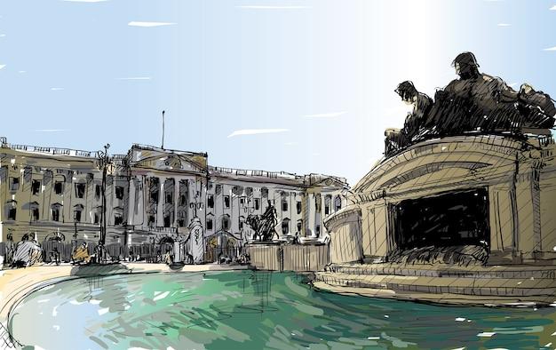 Esboce a paisagem urbana de londres, inglaterra, mostre o espaço público do palácio de buckingham, a fonte dos monumentos e o prédio antigo, ilustração Vetor Premium