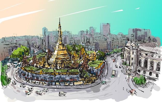 Esboce a paisagem urbana de yangon, mianmar em topview pagode shwedagon, desenho à mão livre Vetor Premium