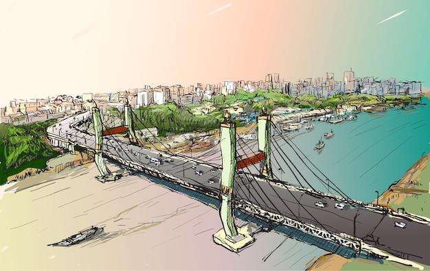 Esboce a paisagem urbana de yangon, mianmar, mostre a vista superior da ponte maha bandual, desenho à mão livre Vetor Premium