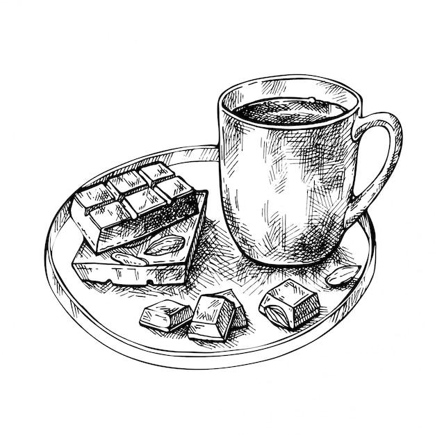 Esboce a xícara de chá, café, chocolate quente, nozes e barra de chocolate no prato. taça desenhada de mão com um pedaço de chocolate. Vetor Premium