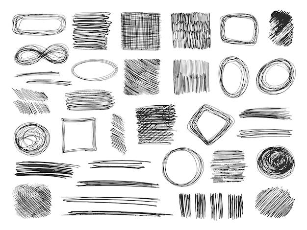 Esboce formas. quadros de rabisco desenhado de mão. rabiscos de lápis. conjunto isolado de texturas esboçadas Vetor Premium