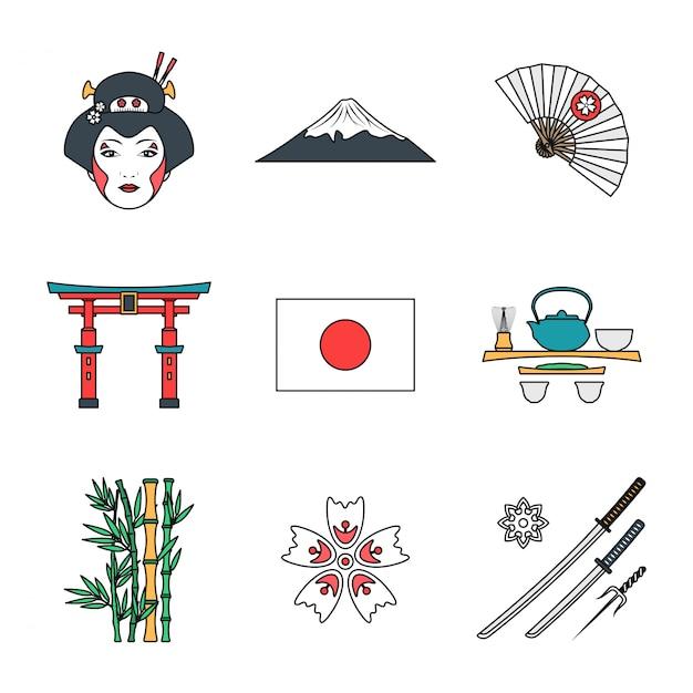 Esboço colorido conjunto de vários ícones do japão Vetor Premium