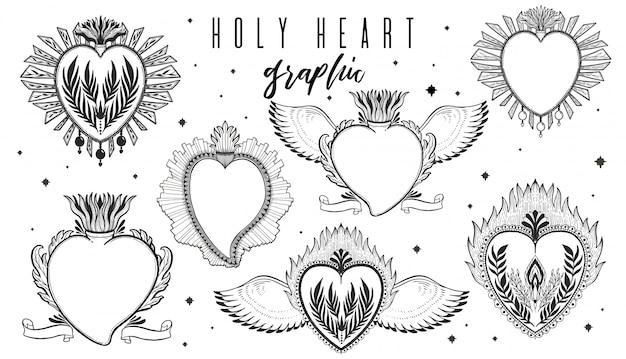Esboço conjunto de ilustração gráfica coração sagrado com mão místico e oculto símbolos desenhados. Vetor Premium