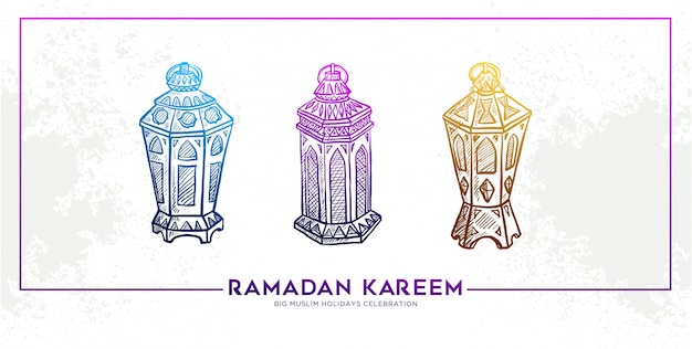Esboço da bandeira de mão desenhada ramadan kareem lantern Vetor Premium