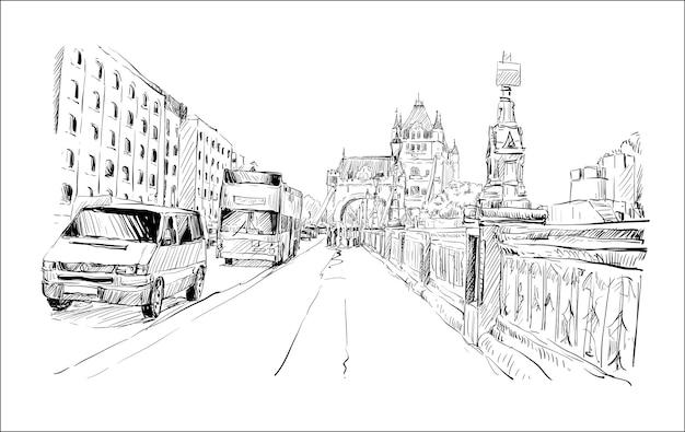 Esboço da paisagem urbana de londres mostra calçada e transporte ao redor da tower bridge, ilustração Vetor Premium
