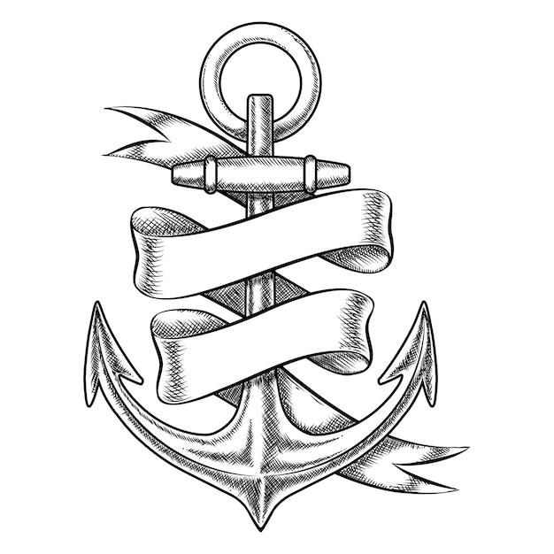 Esboço de âncora desenhado mão do vetor com fita em branco. objeto náutico isolado, ilustração de tatuagem marinha vintage Vetor grátis