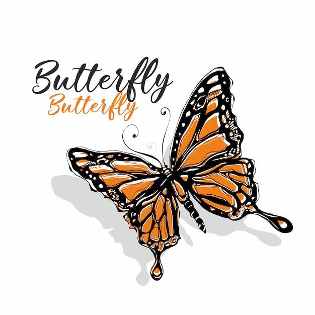 Esboço de borboleta Vetor Premium