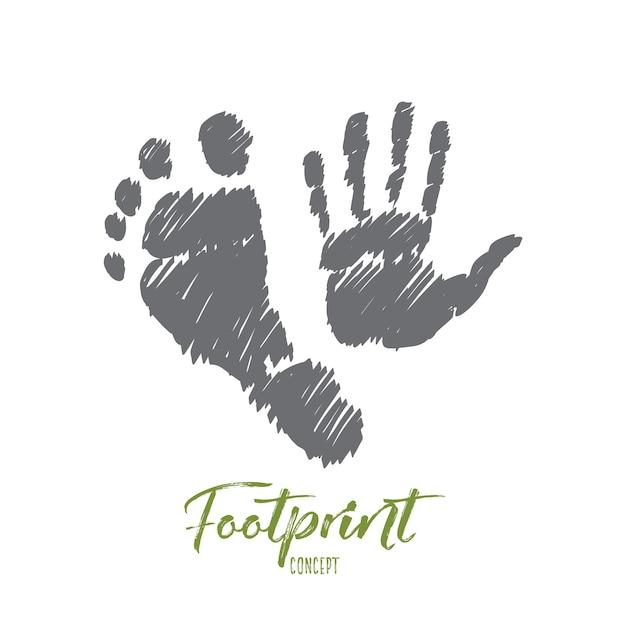 Esboço de conceito de pegada desenhada à mão com impressões de mão e pé humano Vetor Premium