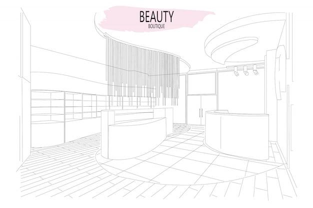Esboço de contorno interior de boutique de beleza com design moderno Vetor Premium