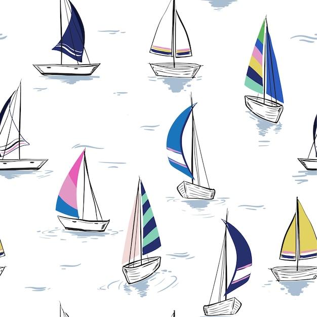Esboço de desenho de mão padrão de verão sem costura de verão Vetor Premium