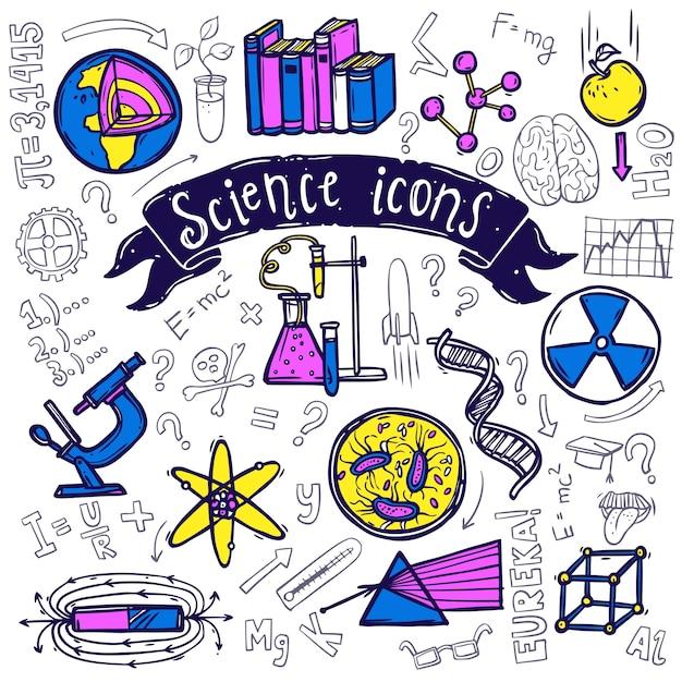 Esboço de doodle de ícones de símbolos de ciência Vetor grátis