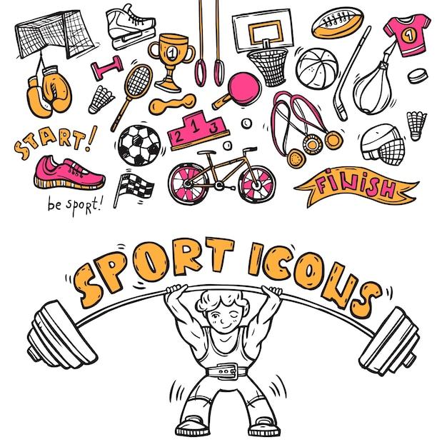 Esboço de doodle de ícones esportivos Vetor grátis