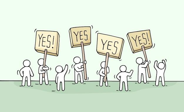 Esboço de gente pequena de multidão. doodle a cena em miniatura fofa de trabalhadores com transparentes de protesto. desenho cartoon para design de negócios e infográfico. Vetor Premium