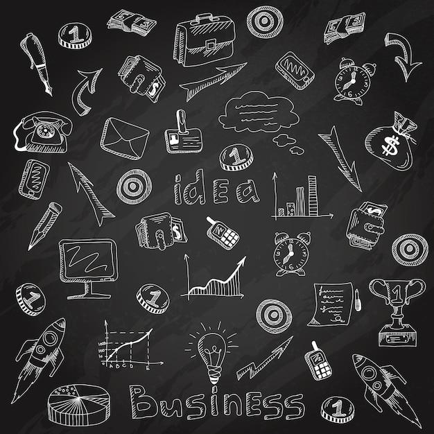 Esboço de giz de lousa de ícones de estratégia de negócios Vetor grátis