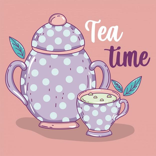 Esboço de hora do chá plana Vetor Premium