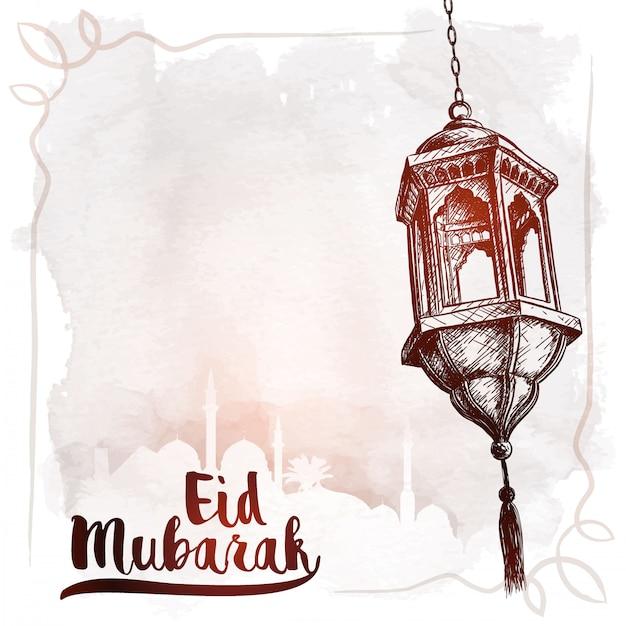 Esboço de lanterna árabe eid mubarak saudação Vetor Premium