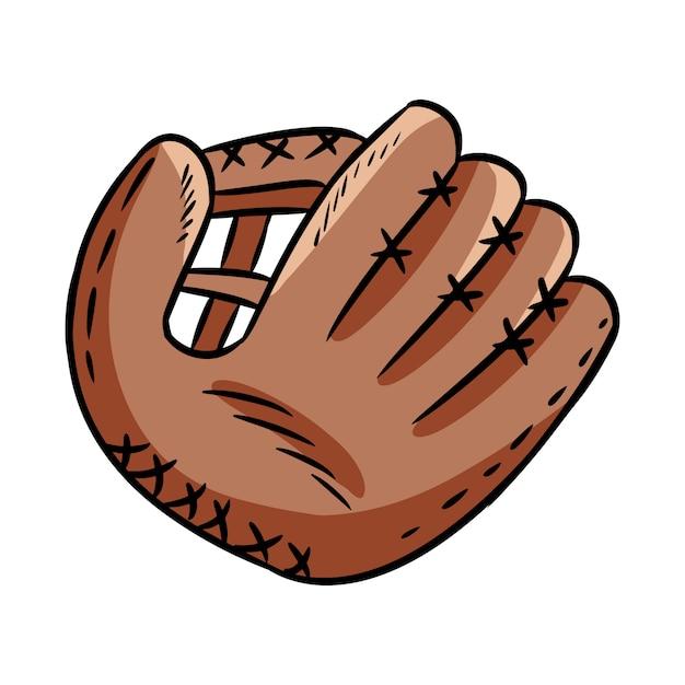 Esboço de mão desenhada doodle de luva de beisebol Vetor Premium